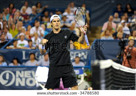 WASHINGTON, D.C. - AUGUST 4: Tommy Haas (GER) after his win against Frank Dancevic (CAN) at the Legg Mason Tennis Classic on August 4, 2009 in Washington D.C.