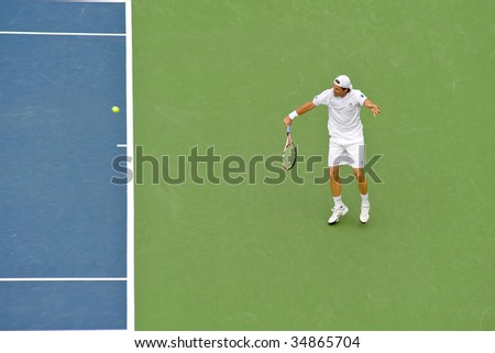 WASHINGTON, D.C. - AUGUST 6: Tommy Haas (GER) defeats Juan Carlos Ferrero (ESP) at the Legg Mason Tennis Classic on August 6, 2009 in Washington D.C.