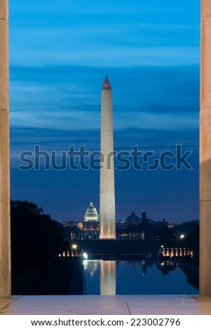 Washington D.C. - Before the sunrise at National Mall with a view of Capitol Building and Washington Monument