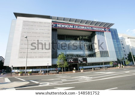 WASHINGTON, D.C. - JULY 29: An exterior view of the Newseum is shown on July 29, 2013 in Washington. The museum is dedicated to news and journalism, worldwide. - stock photo