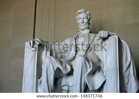 WASHINGTON, D.C. - JULY 29: The statue of Abraham Lincoln is shown at the Lincoln Memorial on July 29, 2013 in Washington, D.C. The memorial was dedicated in 1922. - stock photo