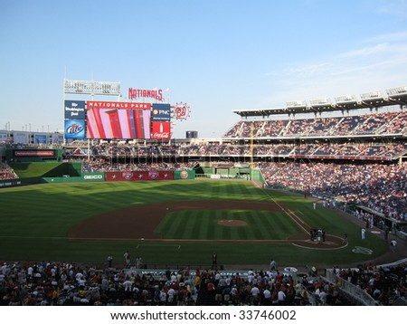 WASHINGTON D.C. - JUNE 25 : A Major League Baseball game takes place at Nationals Park June 25, 2009 in Washington, D.C.