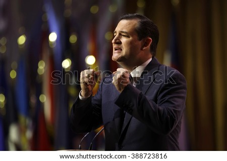 Washington, D.C. 5 March, 2014. Senator Ted Cruz of Texas pictured during the 2014 CPAC conference. Cruz is seeking the Republican nomination for President. photo by Trevor Collens  - stock photo