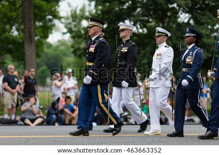WASHINGTON, D.C. - MAY 30, 2016: Memorial Day Parade. A marching platoon from military wearing uniforms.