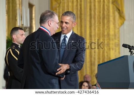 WASHINGTON, D.C. - MAY 19: President Obama awards Dr. Dr. Simon Levin on May 19, 2016 in Washington, D.C. The ceremony recognized the contributions of 17 top scientists, engineers, and inventors.