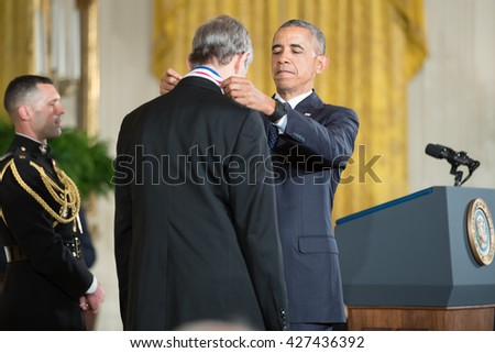WASHINGTON, D.C. - MAY 19: President Obama awards Dr. Michael Artin on May 19, 2016 in Washington, D.C. The ceremony recognized the contributions of 17 top scientists, engineers, and inventors.