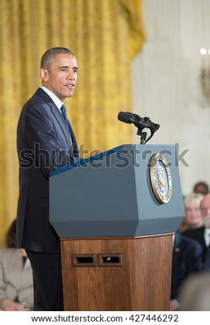 WASHINGTON, D.C. - MAY 19: President Obama awards National Medals of Science and National Medals of Technology and Innovation on May 19, 2016 in Washington, D.C.  - stock photo