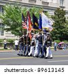 WASHINGTON, D.C. - MAY 30, 2011: The Joint Service Color Guard in Memorial Day Parade May 30, 2011, in Washington, D.C. - stock photo