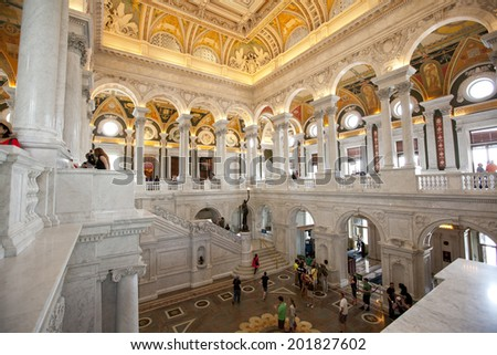 WASHINGTON D.C. - MAY 23 2014: The Library of Congress is the nation's oldest federal cultural institution and serves as the research arm of Congress. It is also the largest library in the world. - stock photo
