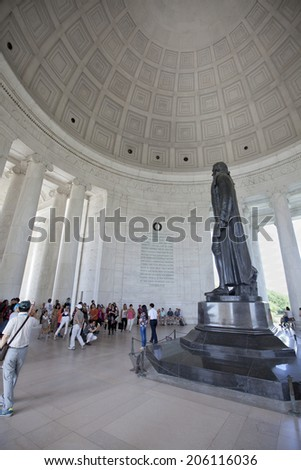 WASHINGTON D.C. - MAY 25 2014: The Thomas Jefferson Memorial, modeled after the Pantheon of Rome, is America's foremost memorial to America's third president. - stock photo