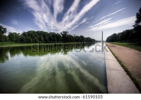 Washington D.C. Reflecting Pool Wide Angle - stock photo