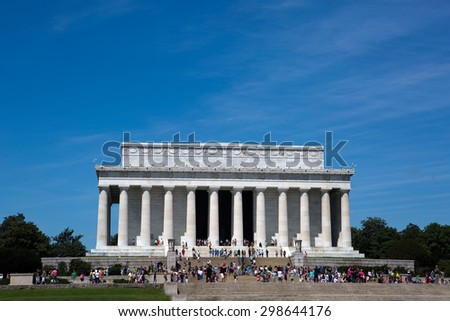 WASHINGTON, D.C., USA â?? JULY 10, 2015: Tourists visit the Lincoln Memorial in Washington, D.C., USA on July 10, 2015. - stock photo