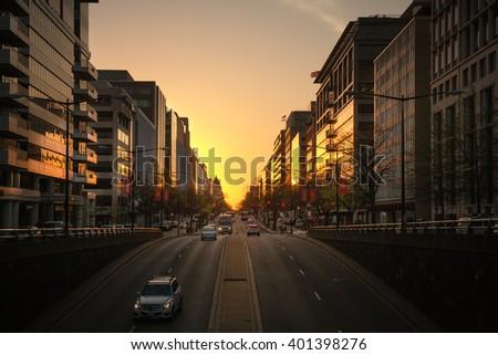 WASHINGTON D.C., USA - Mar 31, 2016: Streets and architecture of Washington DC early morning. Washington is the capital of the United States - stock photo