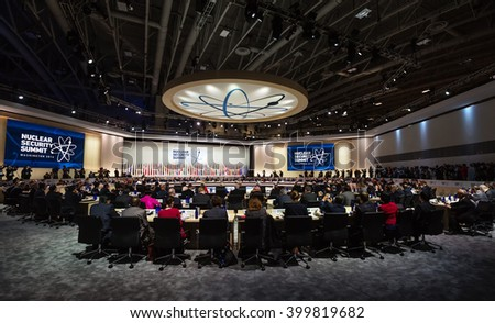 WASHINGTON D.C., USA - Mar 31, 2016: Working moments at the Nuclear Security Summit in Washington. The Nuclear Security Summit is a world summit, aimed at preventing nuclear terrorism around the globe - stock photo