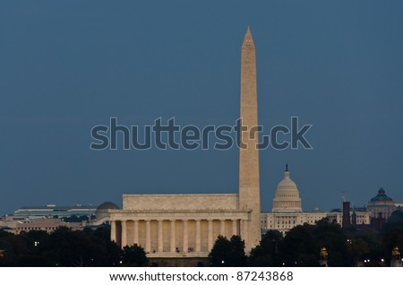 Washington DC, Abraham Lincoln Memorial, Monument and US Capitol in the evening