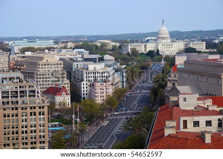 Washington DC aerial view with capitol hill building and street - stock photo