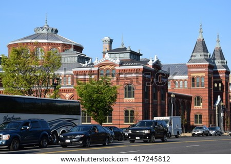 WASHINGTON, DC - APR 16: The Smithsonian Arts and Industries Building in Washington, DC, as seen on April 16, 2016. It was designated a National Historic Landmark in 1971. - stock photo