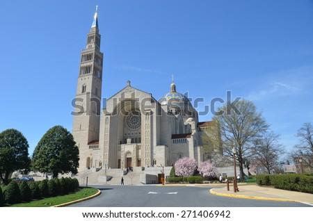 Washington DC - April 12, 2015: Basilica of the National Shrine Catholic Church, Washington DC, USA. - stock photo
