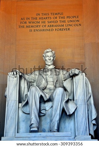 Washington, DC - April 10, 2014:  Daniel Chester French's monumental sculpture of a seated President Abraham Lincoln inside the Lincoln Memorial  *