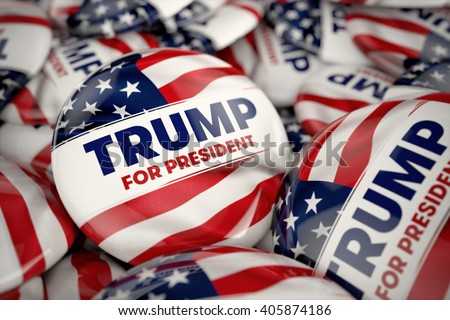 WASHINGTON, DC - APRIL 14, 2016: Illustration of presidential campaign buttons of Donald Trump with very shallow depth of field. - stock photo