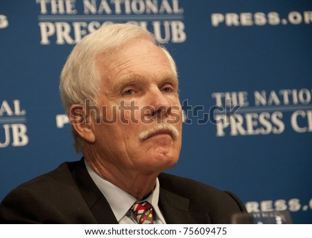 WASHINGTON, DC - APRIL 19: Media Mogul Ted Turner speaks on energy policy and climate change at the National Press Club, April 19, 2011 in Washington, DC - stock photo