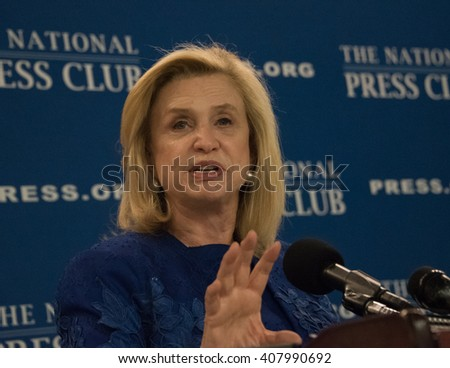 WASHINGTON, DC - APRIL 12, 2016. Rep. Carolyn Maloney, Congresswoman from New York, speaks on equal pay for women at the National Press Club,