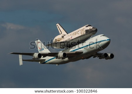 WASHINGTON DC - APRIL 17: Space Shuttle Discovery  on top of Boeing 747 arrives at Dulles Airport in Washington DC on April 17, 2012. Discovery will be a part of permanent display at Air&Space Museum