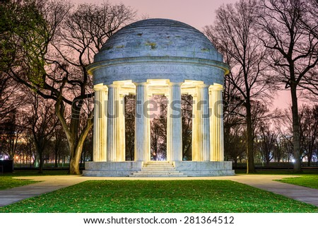 Washington, DC at the DC War Memorial, honoring citizens of the District of Columbia who served in World War I. - stock photo