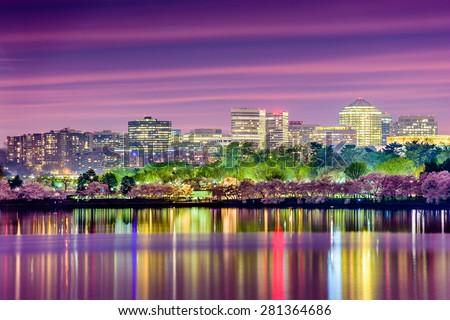 Washington, DC at the Tidal Basin with the Arlington skyline. - stock photo