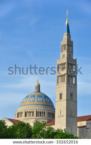 Washington DC -Basilica of the National Shrine Catholic Church - stock photo