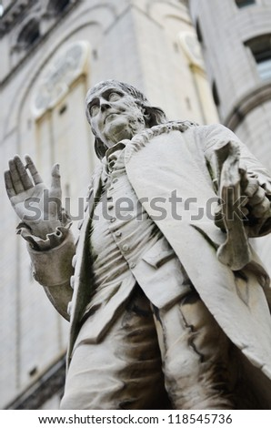Washington DC - Benjamin Franklin Statue in front of the Old Post Office - stock photo