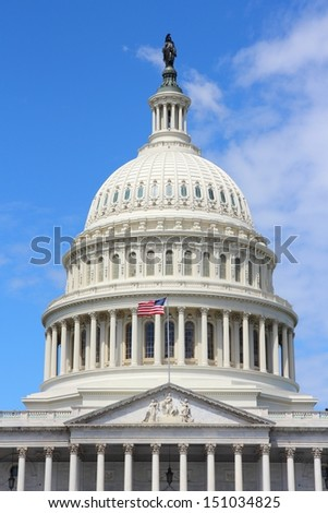 Washington DC, capital city of the United States. National Capitol building with US flag.