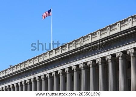 Washington DC, capital city of the United States. US Department of the Treasury. - stock photo