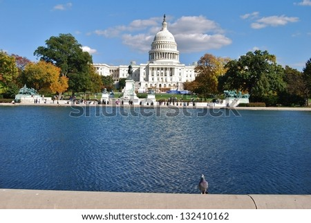 Washington DC Capitol and Fall Season, USA - stock photo