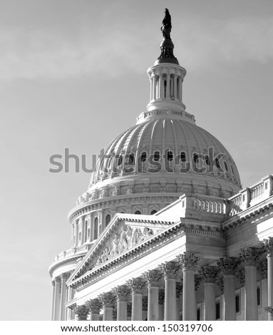 Washington DC , Capitol Building - detail, US, black and white - stock photo