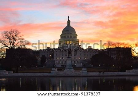 Washington DC, Capitol Building in a cloudy sunrise