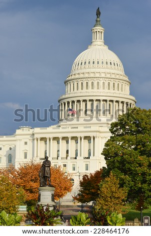 Washington DC - Capitol Building in Autumn - stock photo