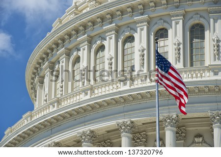 Washington DC Capitol detail with american flag - stock photo