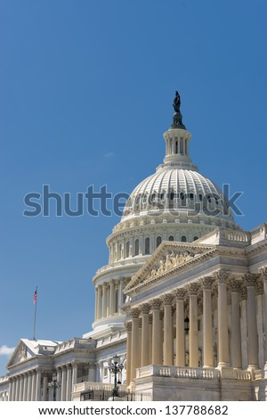 Washington DC Capitol on deep blue sky background