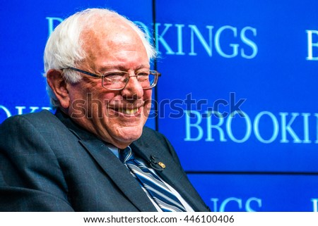 WASHINGTON DC - CIRCA FEBRUARY 2015: Vermont Senator and presidential candidate Bernie Sanders speaks at the Brookings Institute in Washington DC.