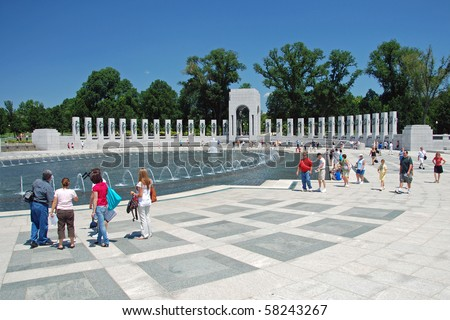 WASHINGTON DC - CIRCA JULY 2009: World War II Memorial circa July 2009 in Washington DC, USA. It features two great arches, the Atlantic and Pacific, as well as a wall of gold stars. - stock photo