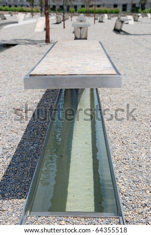 WASHINGTON DC - CIRCA JUNE 2009: Pentagon memorial circa June 2009 in Washington DC, USA. Permanent outdoor memorial to people killed in building and in Flight 77 in the September 11, 2001 attacks. - stock photo