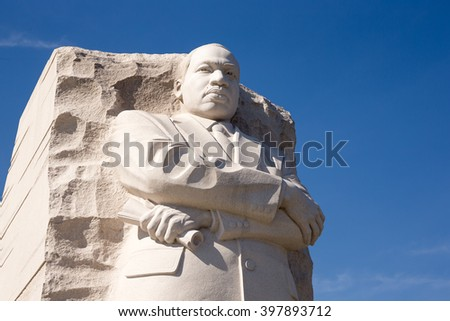 WASHINGTON DC - CIRCA MARCH 2016: Martin Luther King Jr. memorial statue - stock photo