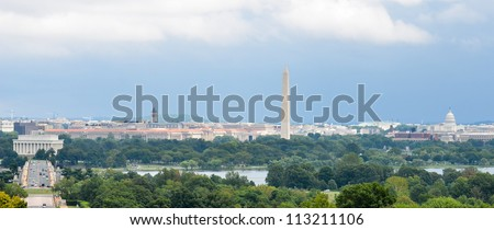 Washington DC city view in a cloudy summer day, including Lincoln Memorial, Monument, US Capitol building and Potomac River - stock photo