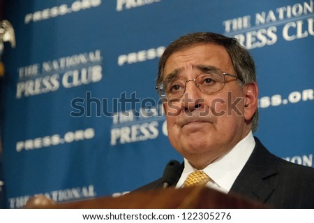 WASHINGTON, DC - DEC 18: Secretary of Defense Leon Panetta addresses a luncheon at the National Press Club, December 18, 2012 in Washington, DC - stock photo