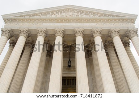 Washington, DC - December 29, 2007: Supreme Court building in the United States of America, located in Washington, D.C., USA.