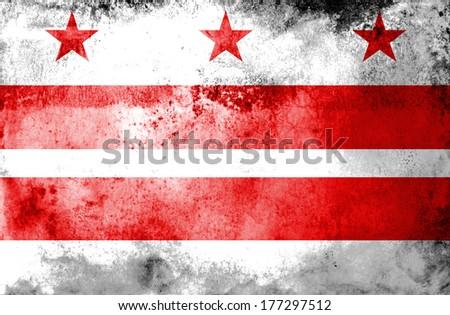 Washington DC Flag painted on grunge background  - stock photo