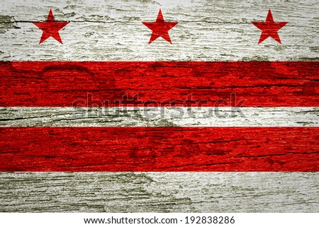 Washington DC Flag painted on old wood plank texture  - stock photo