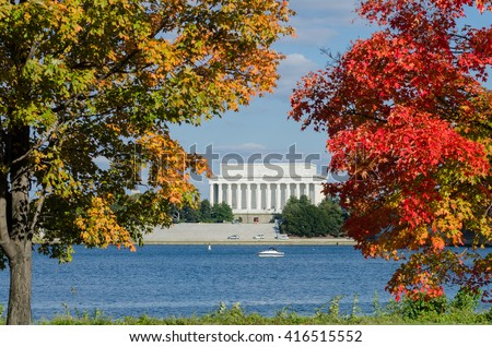 Washington DC in Autumn - Lincoln Memorial among fall trees and Potomac River - stock photo