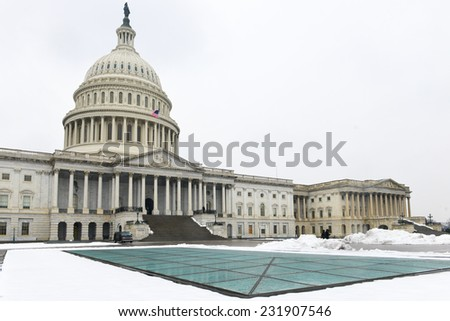 Washington DC in Winter - The Capitol Building in snow  - stock photo